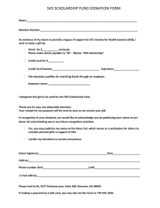 SHS SCHOLARSHIP FUND DONATION FORM