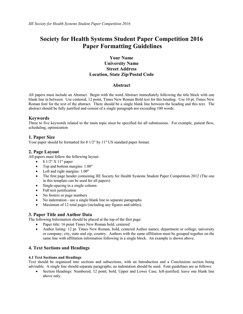 Paper Formatting Guidelines | Society For Health Systems Student Paper Competition 2016 Paper