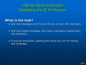 Marketing the IE Profession Discussion