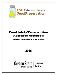 2016  Food Safety/Preservation Resource Notebook