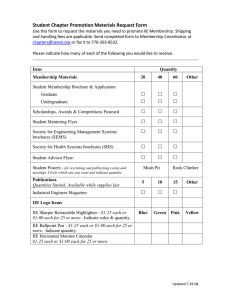 Student Chapter Promotion Materials Request Form 2008