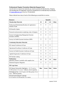 Professional Chapter Promotion Materials Request Form 2008