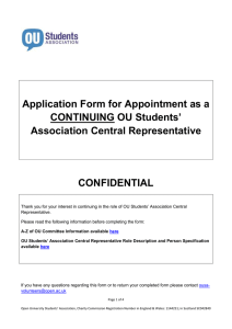 Application Form for Appointment as a Students' CONTINUING OU