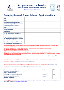 An open research university:  Engaging Research Award Scheme: Application Form