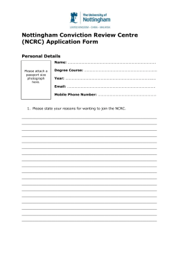 Nottingham Conviction Review Centre (NCRC) Application Form  Personal Details