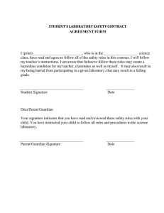 STUDENT'S LABORATORY SAFETY CONTRACT AGREEMENT FORM I (print)