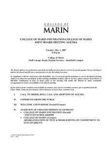 COLLEGE OF MARIN FOUNDATION/COLLEGE OF MARIN JOINT BOARD MEETING AGENDA