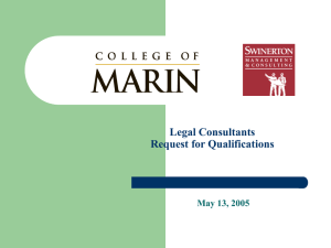 Legal Consultants Request for Qualifications May 13, 2005