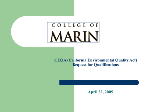 CEQA (California Environmental Quality Act) Request for Qualifications April 22, 2005