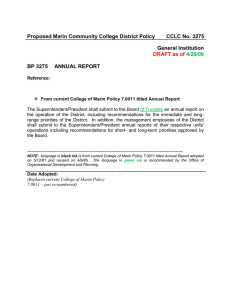 Proposed Marin Community College District Policy CCLC No. 3275 General Institution