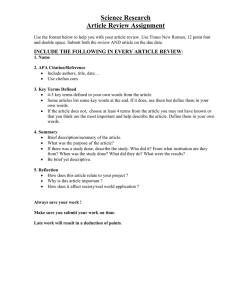 NEW Article Review Assignment with Rubric