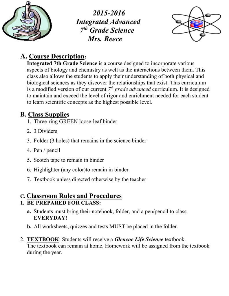 7Th Grade Science Help integrated advanced 7th grade science course criteria