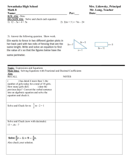 Math 8 Lesson Plan 16 solving equations involving fractional and decimal coefficients class outline for students.doc
