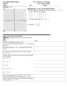 Math 8 Lesson Plan 23 Finding the slope and y intercept class outline for students.doc