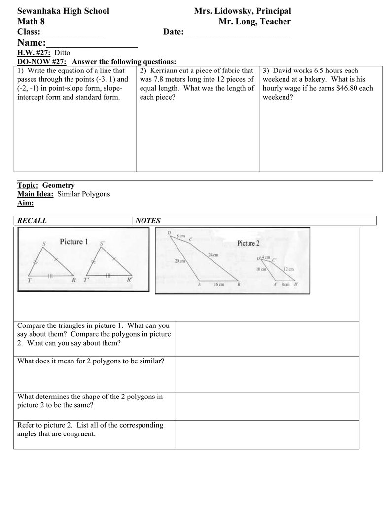 Math 8 Lesson Plan 27 Similar Polygons class outline for