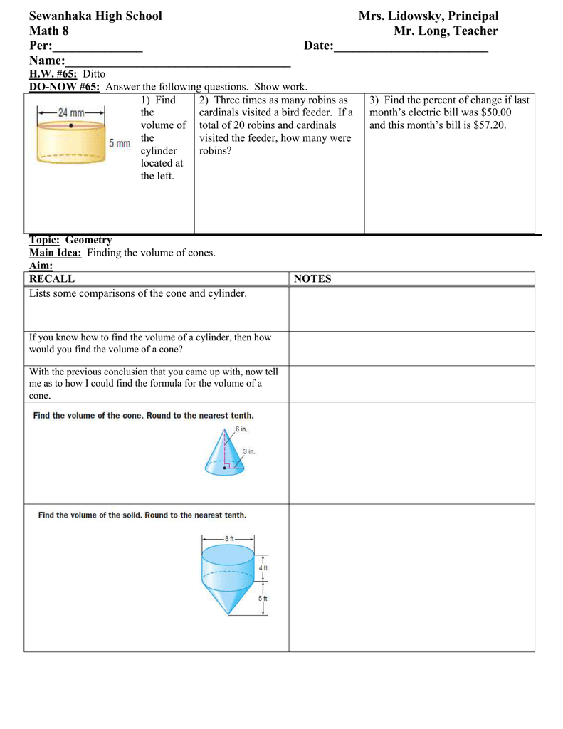 worksheet Volume Of Cylinders And Cones Worksheet math 8 lesson plan 65 finding the volume of cones class outline for students doc