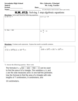 Math 8 HW 12 Solving One Step Algebraic Equations.doc