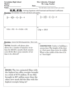Math 8 HW 16 solving equations involving fractional and decimal coefficients.doc