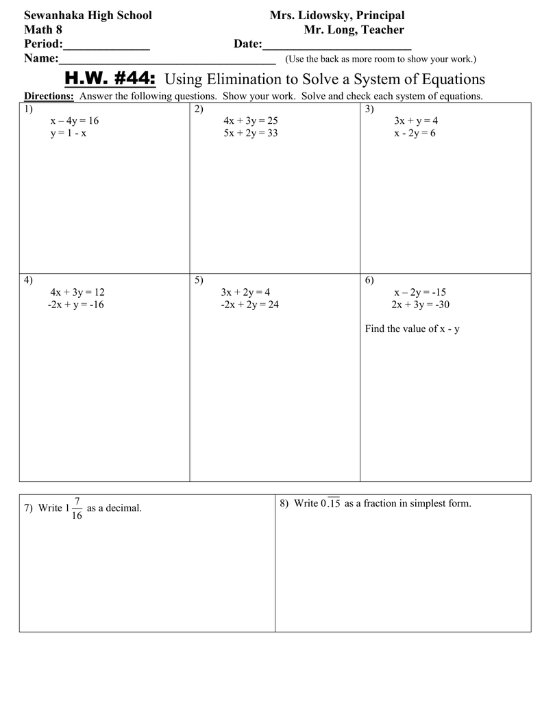 Math 8 HW 44 Using Elimination to solve a System of ...