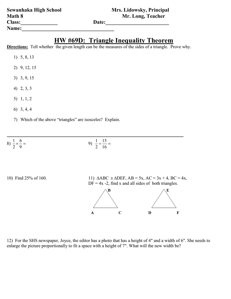 Math 25 HW 25D Triangle Inequality Theorem.doc Intended For Triangle Inequality Theorem Worksheet