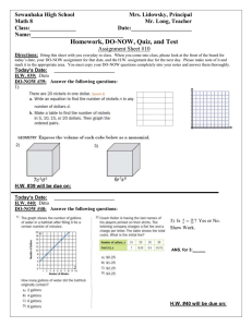 Math 8 HW DO NOW Assignment Sheet 10