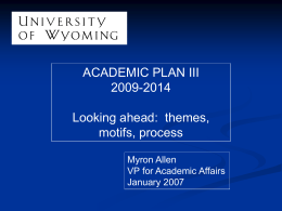 Preliminary motifs for University Plan III
