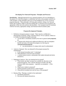 New Outreach Programs - Principles
