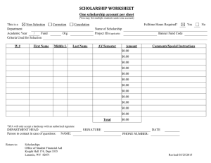SCHOLARSHIP WORKSHEET One scholarship account per sheet