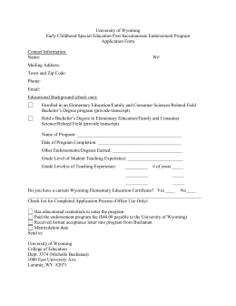 University of Wyoming Early Childhood Special Education Post-baccalaureate Endorsement Program Application Form