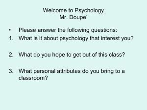 Welcome to Psychology