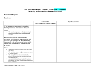 Rubric used by Assessment Coordinators to evaluate department/program report