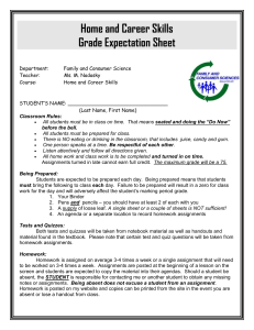 Home and Career Skills Grading Criteria Sheet