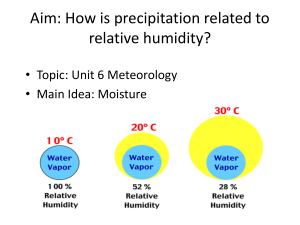 Aim: How is precipitation related to relative humidity? • Main Idea: Moisture