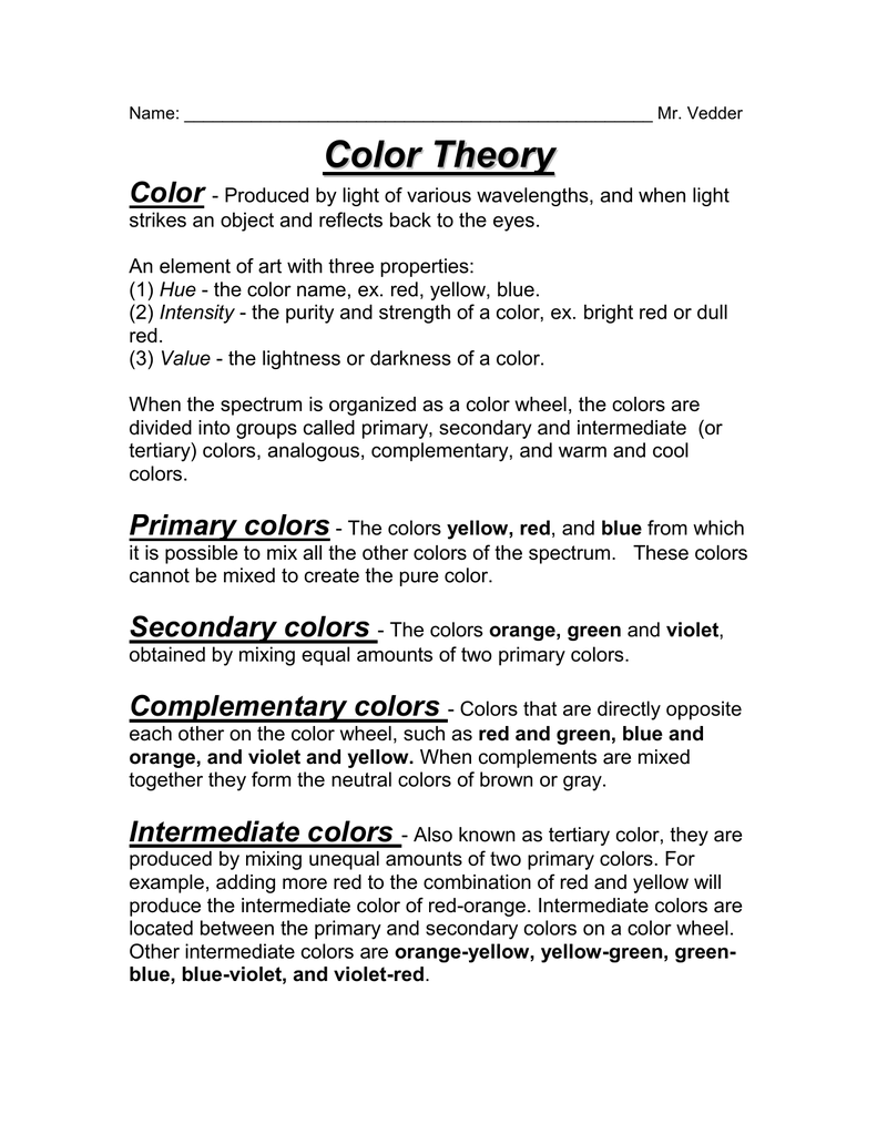 Color Theory Handout