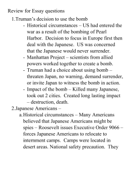 japanese internment wwii essay Japanese-americans internment camps of world war ii after the bombing of pearl harbor, many thought the mainland was next the united states, by order of the president, rounded up 120,000 people of japanese ancestry for detention.