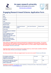 An open research university  Engaging Research Award Scheme: Application Form