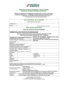 Ministerio de Ambiente Research and Collecting Permit Form