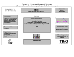"Title Format for ""Proposed Research"" Posters"