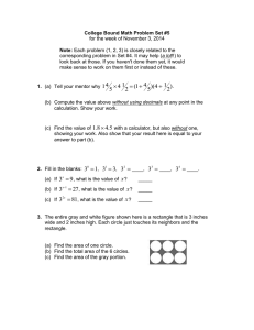 College Bound Math Problem Set #5 Note: