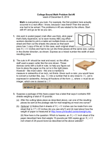 College Bound Math Problem Set #8 Math week of December 8, 2014