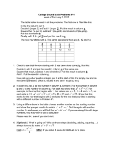 College Bound Math Problems #14 week of February 2, 2015