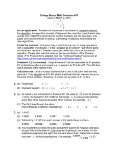 College Bound Math Solutions #17 It's an Application.