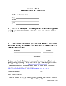 Statement of Work for Services Valued at $2,500 - $9,999 I. Contractor Information