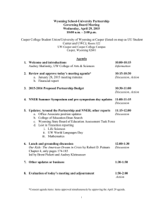 Wyoming School-University Partnership Governing Board Meeting Wednesday, April 29, 2015