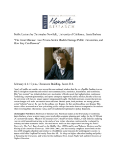 Public Lecture by Christopher Newfield, University of California, Santa Barbara