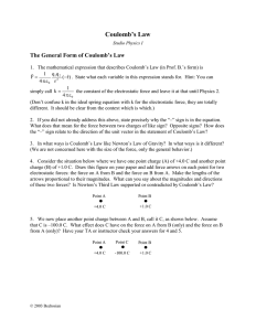 Coulomb's Law The General Form of Coulomb's Law