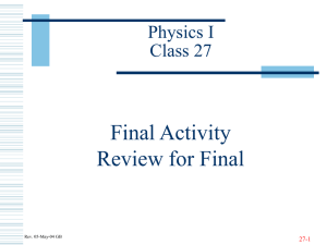 Final Activity Review for Final Physics I Class 27