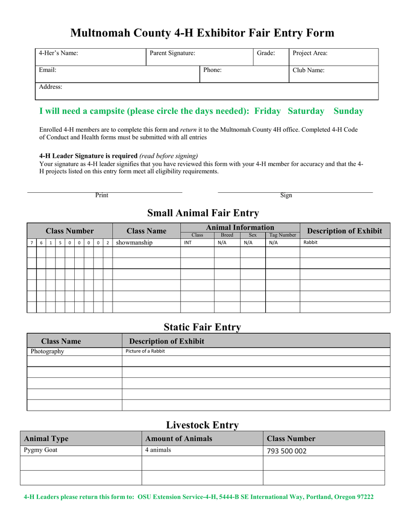 Multnomah County 4 H Exhibitor Fair Entry Form