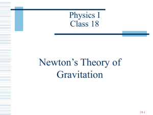 Newton's Theory of Gravitation Physics I Class 18