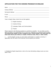 APPLICATION FOR THE HONORS PROGRAM IN ENGLISH